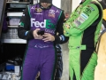 Denny Hamlin talks to Kyle Busch